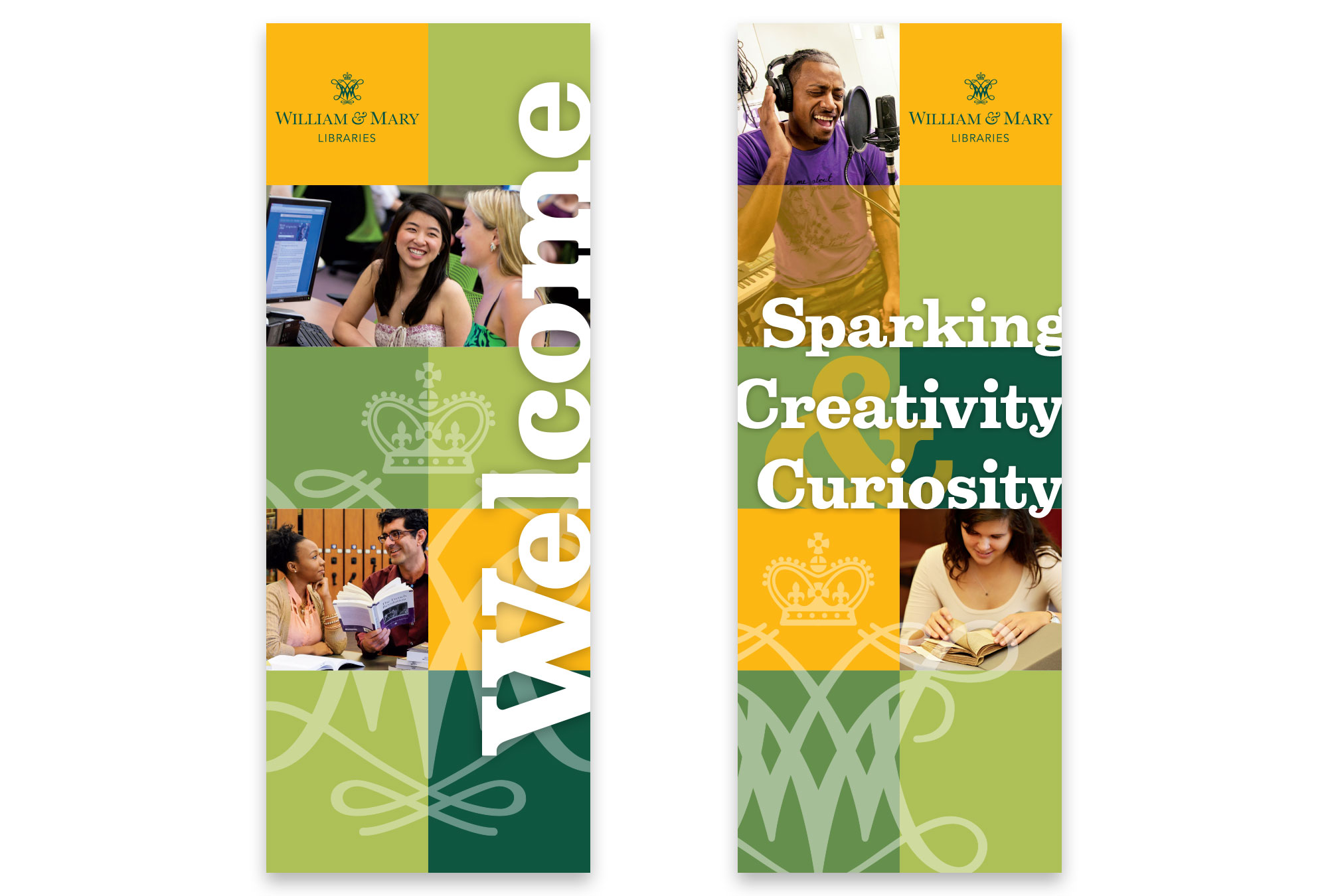 Swem Library welcome banners